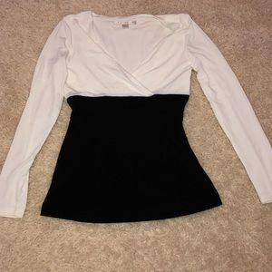 White and Black work long sleeve top